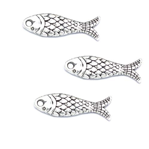 80pcs Vintage Antique Silver Alloy Fish Animal Charms Pendant Jewelry Findings for Jewelry Making Necklace Bracelet DIY 23.5x7mm (80pcs Fish) ()