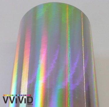4350417332 VViViD Silver Holographic Chrome Vinyl Wrap Rainbow Finish Roll DIY Air-Release Adhesive Film 17.75 x 5ft
