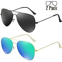 livhò G 2Pack de anteojos de sol Para Los Hombres Las Mujeres Aviator Polarizadas metal Espejo Lente Protección UV 400
