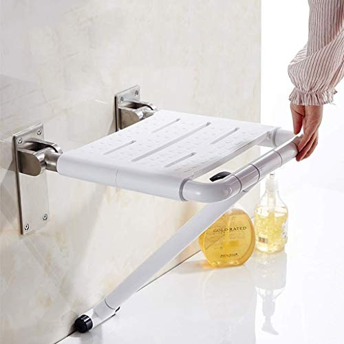 BEAUTY--shower stool Bathroom Elderly Folding Wall Stool Shower Room Widening Security/Anti-Skid, 2 Colors to Choose from (Color : White) by BEAUTY--shower stool (Image #1)
