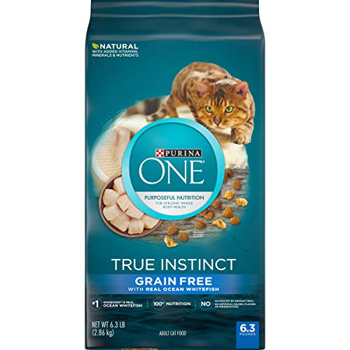 Purina ONE Natural, High Protein, Grain Free Dry Cat Food, True Instinct With Real Ocean Whitefish - 6.3 lb. Bag