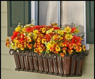 42'' Venetian Decora Window Box with Bronze Galvanized Liner