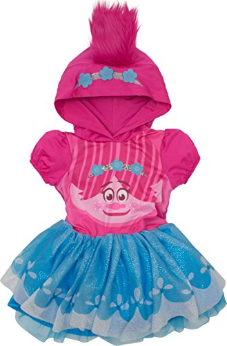 Trolls Poppy Toddler Girls' Costume Dress with Hood and Fur Hair, Pink and Blue, 5T