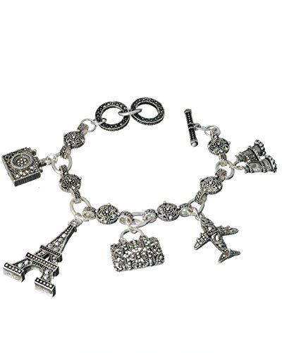 Jewelry Nexus Paris Eiffel Tower Airplane Travel Theme Marquise Toggle Bracelet