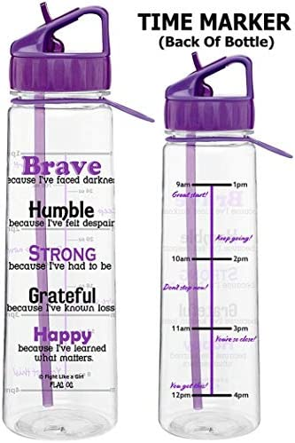Time Marker with Inspirational Phrases 30 Oz 4 Color Choices Fight Like a Girl Motivational Brave Because Ive Faced Darkness Slimkim II Water Sports Bottle for Fitness Workout Exercise