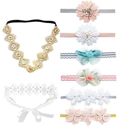 DANMY Baby Girl Super Stretchy Headband Big Lace Petals Flower Baby Hair Band Newborn Hair Accessories (Flower and Bow Set (8pcs))