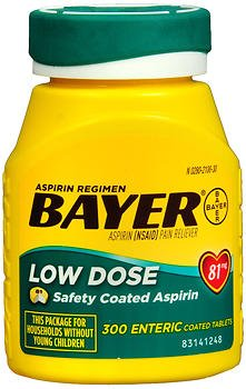 Bayer Low Dose Aspirin 81 mg Enteric Coated Tablets - 300 ct, Pack of 3 by Bayer