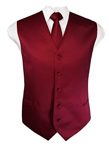 Burgundy Vest Set - Guytalk Mens 3 Piece Tuxedo Vest for Formal Party, Wedding, Prom, Bartender XL Burgundy