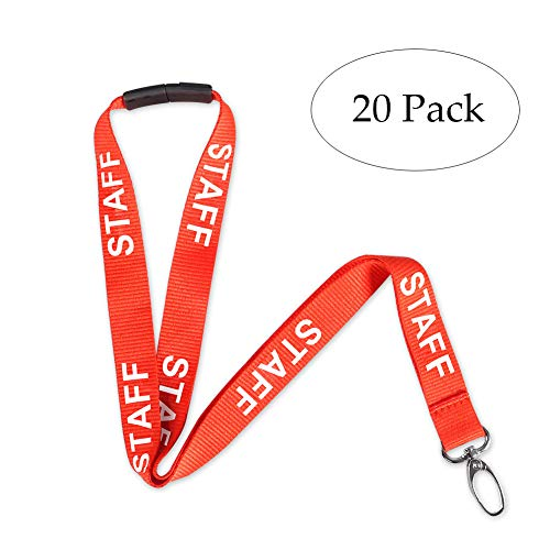 DEALIKEE Staff Lanyards, Printed Orange and White Staff Design Neck Strap Swivel Metal Clip. (20 Pack) for $<!--$22.25-->