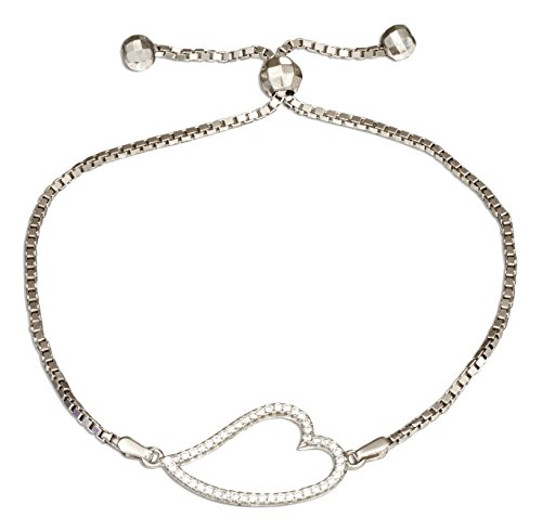 Sterling Silver 6 inch to 9 inch Adjustable Micro Pave Cubic Zirconia Curved Open Heart Bracelet