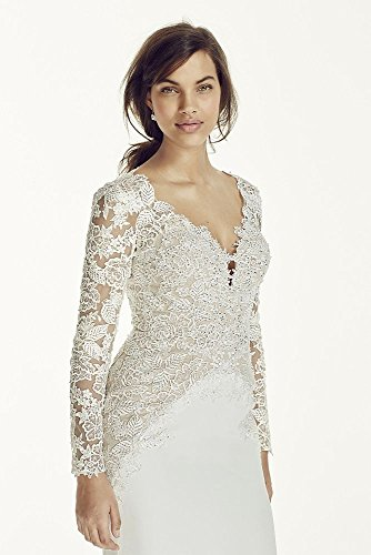 Crepe-SAMPLE-As-Is-Long-Sleeve-Beaded-Lace-Plunge-Neckline-Wedding-Dress