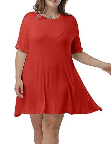 Di Della Abiti Modo Formato Allegrace Donne Più Maglietta Colore Di L'estate Rosso Girocollo Casuale Flowy qvwfI1