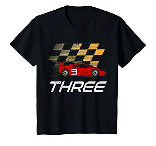 Kids 3rd Birthday Race Car Shirt Gift I Three Years Old Boys T-Shirt -