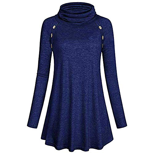 HIRIRI Button Embellished Women's Overcoat Long Sleeve Soft Ruffles Blouse Solid Color Turtleneck Pullover Blue