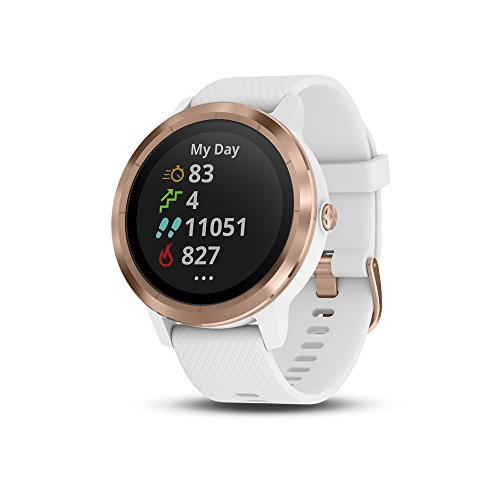 - Garmin vívoactive 3, GPS Smartwatch with Contactless Payments and Built-in Sports Apps, White/Rose Gold