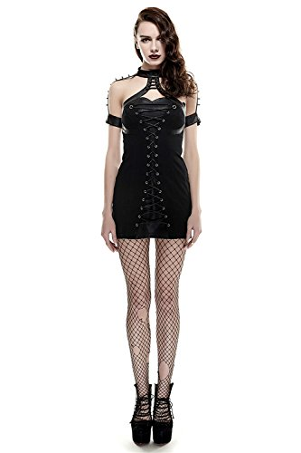 Rock Punk Hanging Gr Tight Hohe en Taille 6 Frauen Kleid Kurzarm Gothic Kleid Niet Typ Neck q5dx6zwa