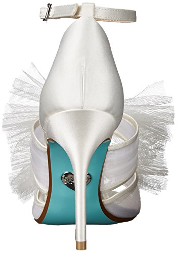 Blauw Door Betsey Johnson Womens Sb-big Dress Sandaal Ivoor Satijn
