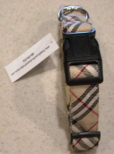 Tan Plaid (Burberry Like) Plaid Dog Collar - Small 9-15 inches 1/2 Wide