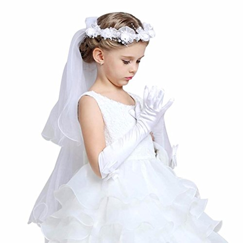 Digood Toddler Newborn Baby Girls Bowknot Elbow Long Polyester Party Wedding Mittens Gloves (White, 3-8 Years old)