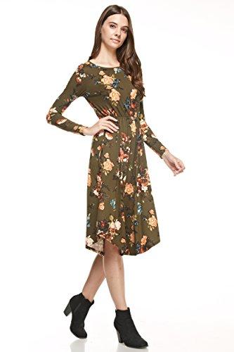 Reborn J's Floral Midi Dress (Small, Olive)