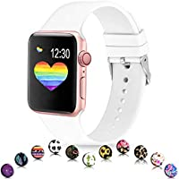 Sunnywoo Sport Band Compatible with Apple Watch 38mm 40mm 42mm 44mm, Soft Silicone Floral Fadeless Strap Bands for iWatch Series 4, Series 3, Series 2, Series 1, Sport Edition Women Men