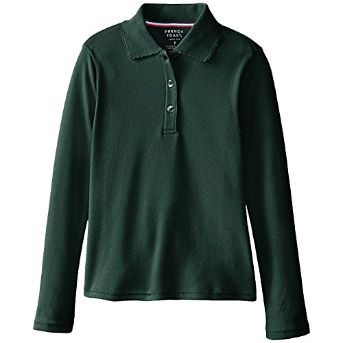 French Toast School Uniform Girls Long Sleeve Polo Interlock with Picot Collar, Hunter Green, Large (10/12)