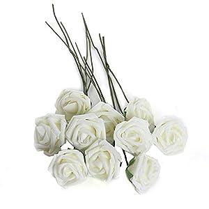 MARJON Flowers10Pcs Artificial Flower Foam Rose Wedding Bridesmaid Bridal Bouquet Party Decor White 68