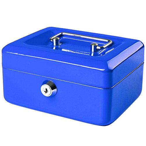 Jssmst Small Locking Cash Box with Money Tray, Lock Money Box for Kids Blue, 5.9 x 4.7 x 3.2 inches, CB013-L by Jssmst (Image #8)