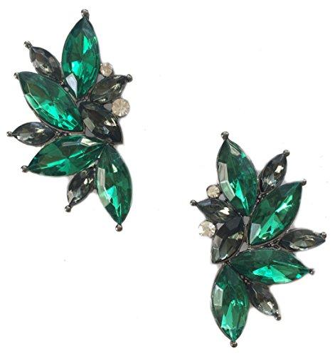 (Art Deco Antique Vintage Style Dark Green Emerald Rhinestone Cluster Earrings)