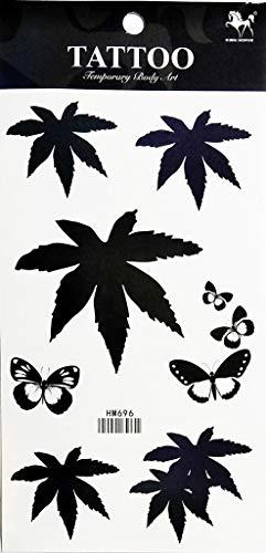 - PP TATTOO 1 Sheet Butterfly Pot Leaf Ganja Marijuana Weed Retro Boho Hippie Stickers Tattoos Waterproof Tattoo Sexy Fake Body Arm Art Sticker Fake Tattoo Stickers Removable