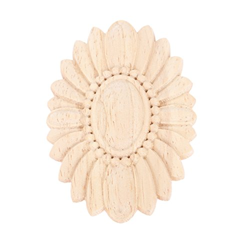od Carved Onlay Applique Unpainted Flower Door Home Decor European Style ()