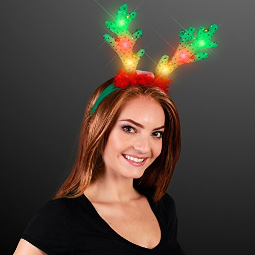 - FlashingBlinkyLights Light Up LED Reindeer Antlers with Jingle Bells