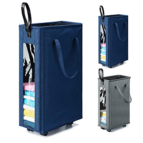 HOUSE DAY Blue 62L Slim Tall Laundry Basket with 360 Degree Swivel Wheels and Durable Handle, Waterproof Rolling Laundry Basket Hamper with Breathable Mesh Cover and Clear Window
