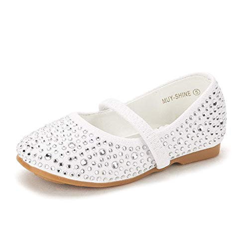 (DREAM PAIRS MUY-Shine Infant Mary Jane Casual Slip On Ballerina Flat Toddler New White Suede Size)