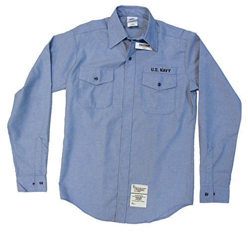 - Men's U.S. Navy Utility Work Shirt Chambray - Long Sleeve - Medium 36SL