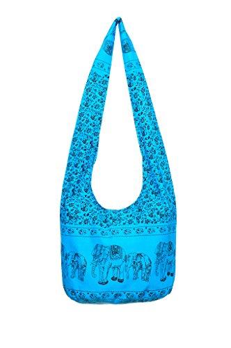 Avarada Cotton Hippie Hobo Sling Shoulder Bag Bohemian Bag Print Elephant Blue