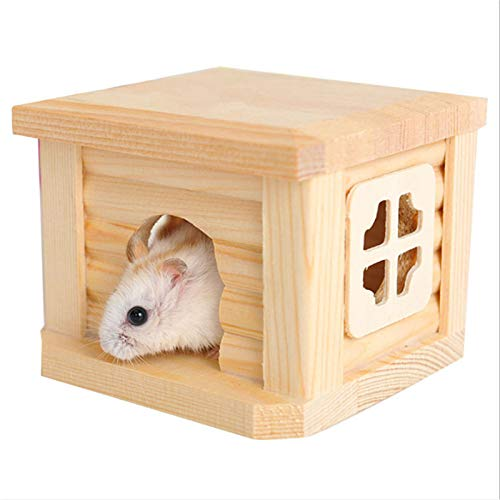 Log House - 1pc Log Color Flat Durable Hamster Cage Mouse House Eco Friendly Chalet Small Pet Rat Hut - Curtains Wood Building Plastic Bird Almond Puzzle Lighting Blocks Furniture Designing Ki