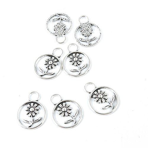 (10 Pieces Silver Tone Jewelry Making Charms Supply ZY4112 Chrysanthemum Daisy Flower)