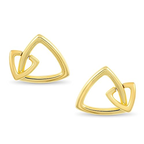 MICHAEL JOHN BRISA COLLECTION - Faith Design | Silver Trilliant Earrings, Overlaid with 18K Gold