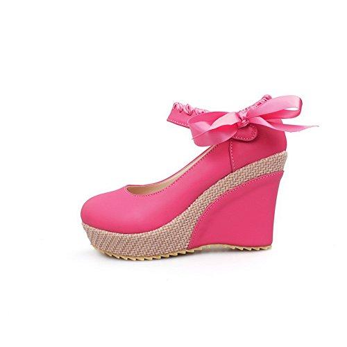 Balamasa Damesstrikken Wiggen Platform Urethaan Pumps-schoenen Roze