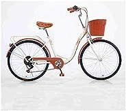 HUIJIAN Classic Bicycle, 24/26 Inch 7 Speed Beach Cruiser Bicycle, Retro Bike Comfortable Bicycle, Cruiser Bic
