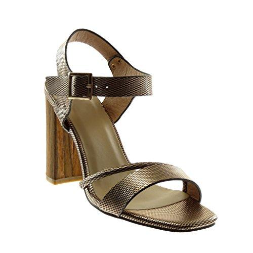 Angkorly Damen Schuhe Sandalen Pumpe - Knöchelriemen - Multi-Zaum - Schlangenhaut - Wooden Blockabsatz High Heel 10.5 cm Champagner