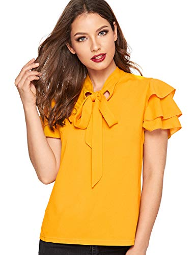 Romwe Women's Cute Bow Tie Neck Layered Short Sleeve Solid Summer Blouse Tops Yellow XL