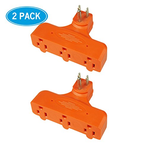 HomeHopes 3 Outlets Power Socket Adapters, Flat-shaped(2 - Orange The Outlet