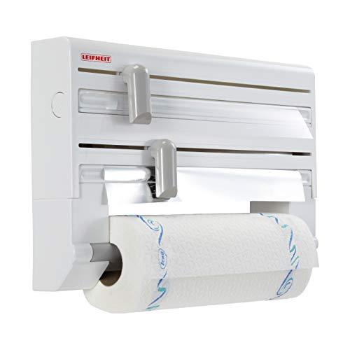 Leifheit Portarrollos de pared Parat ComfortLine para 3 rollos, porta rollos con cuchillas para un corte limpio, portarrollos de cocina de plastico