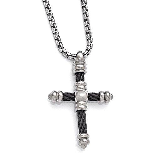 Lex & Lu Edward Mirell Titanium Cable Cross Pendant ()
