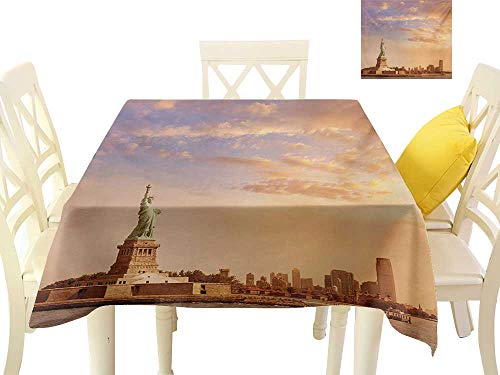 familytaste Tablecloth Sculptures,Statue of Liberty American Freedom Symbol on NYC Sunset with River Skyscraper,Yellow White Coffee Hall Home Decorative Cover W 36