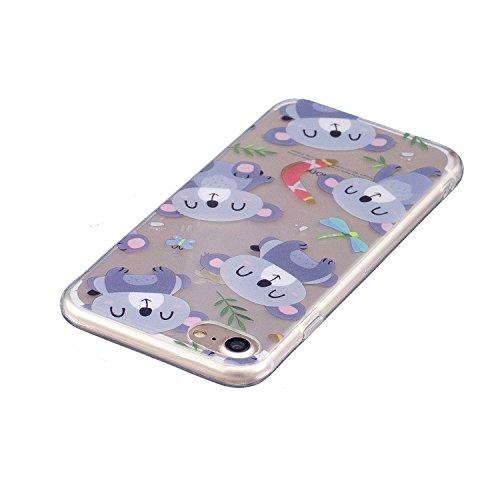 Funda iPhone 7 , E-Lush Suave Silicona TPU Carcasa Ultra Delgado Cáscara Clear Flexible Gel Parachoques Goma Mate Transparente Case Cover Pintura del impresión Elegante Bumper Premium y Creativo Carca Oso Púrpura