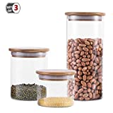 Glass Food Storage Jars, Modern Design Clear Glass Dry Bulk Food Storage with Airtight Bamboo Lid, Sealed Food Storage Canisters for Tea, Coffee, Spices, Cookies, Sugar. 24.5/35.7/60 oz, Set of 3