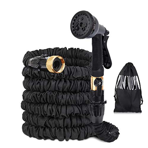 Garden Hose 50 ft Water Hose Super Strong Construction and Webbing No Leak Flexible & Durable Garden Hose for Your Watering Needs with 8 Function Spray Nozzle and Shut-Off Valve (Spray Shut Off Nozzle)